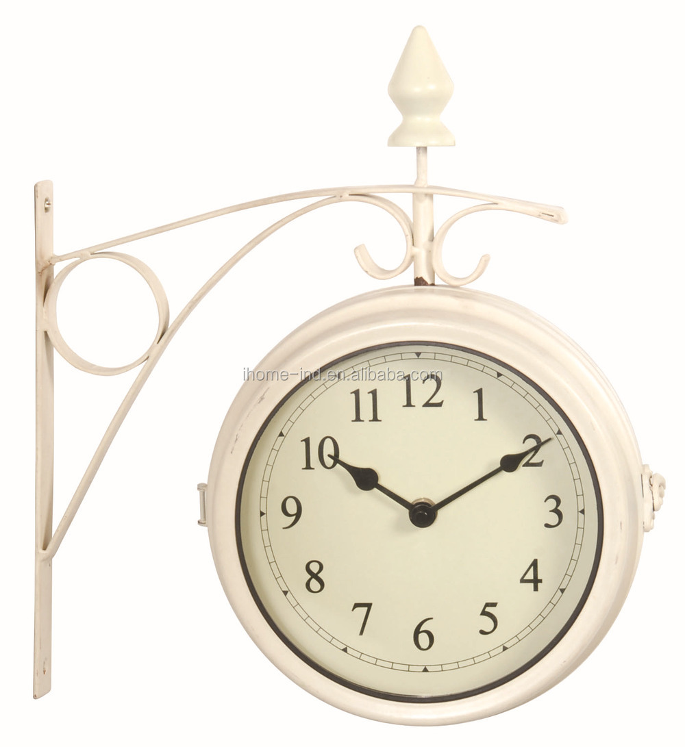 Home Decoration Antique Outside Wall Clocks Double Side Garden Wall Clock