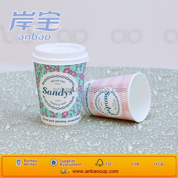 Excellent quality ripple wall paper cup with lid
