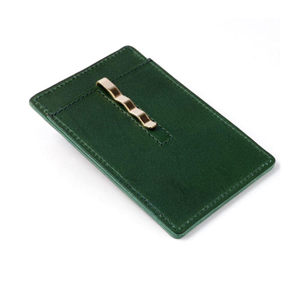 Ultra thin slim style leather card holder money clip wallet with silver clip