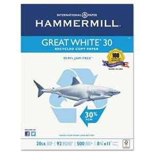 Hammermill Paper, Great White 30% Recycled Copy Paper, 20lb, 8.5 x 11, 92 Bright, 500 Sheets/ 1 Ream (086700), Made in the USA