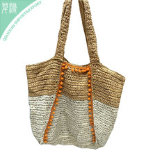 HB-132712 Fashion Summer Natural Travel Mixed Color Beach Plain Straw Shoulder Bag