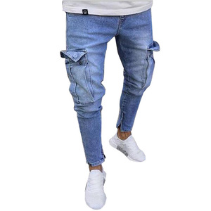 Blue Color Straight Leg Urban Damaged Overalls Jeans Pant
