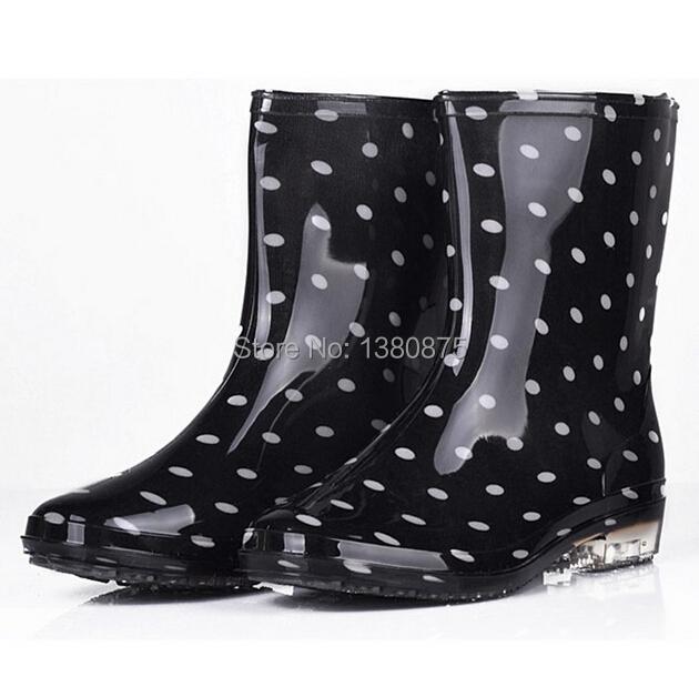 0be0dc3b63a9 Fashion Women Wedge Rain Boots Female Ankle wedges Heel Boots Rain  Waterproof Wellies Boots Women Rubber