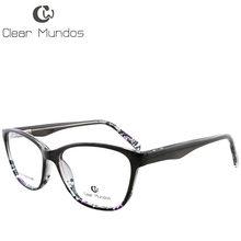 Прозрачные мужские и женские очки MUNDOS, весенние оправы с петлями TR90, цветные очки с цветами, прозрачные Линзы для очков T8008(Китай)
