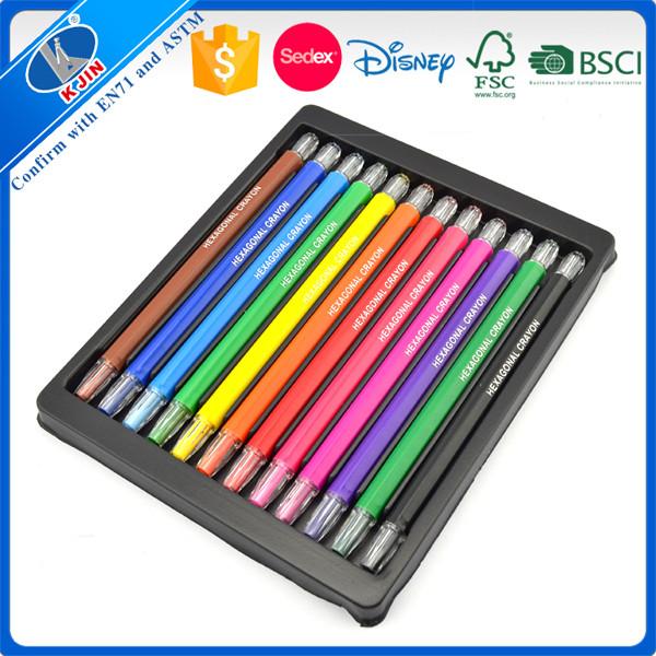 Non-toxique logo personnalisé fluorescent 6 pcs blister emballage torsion crayon ensemble pour la peinture