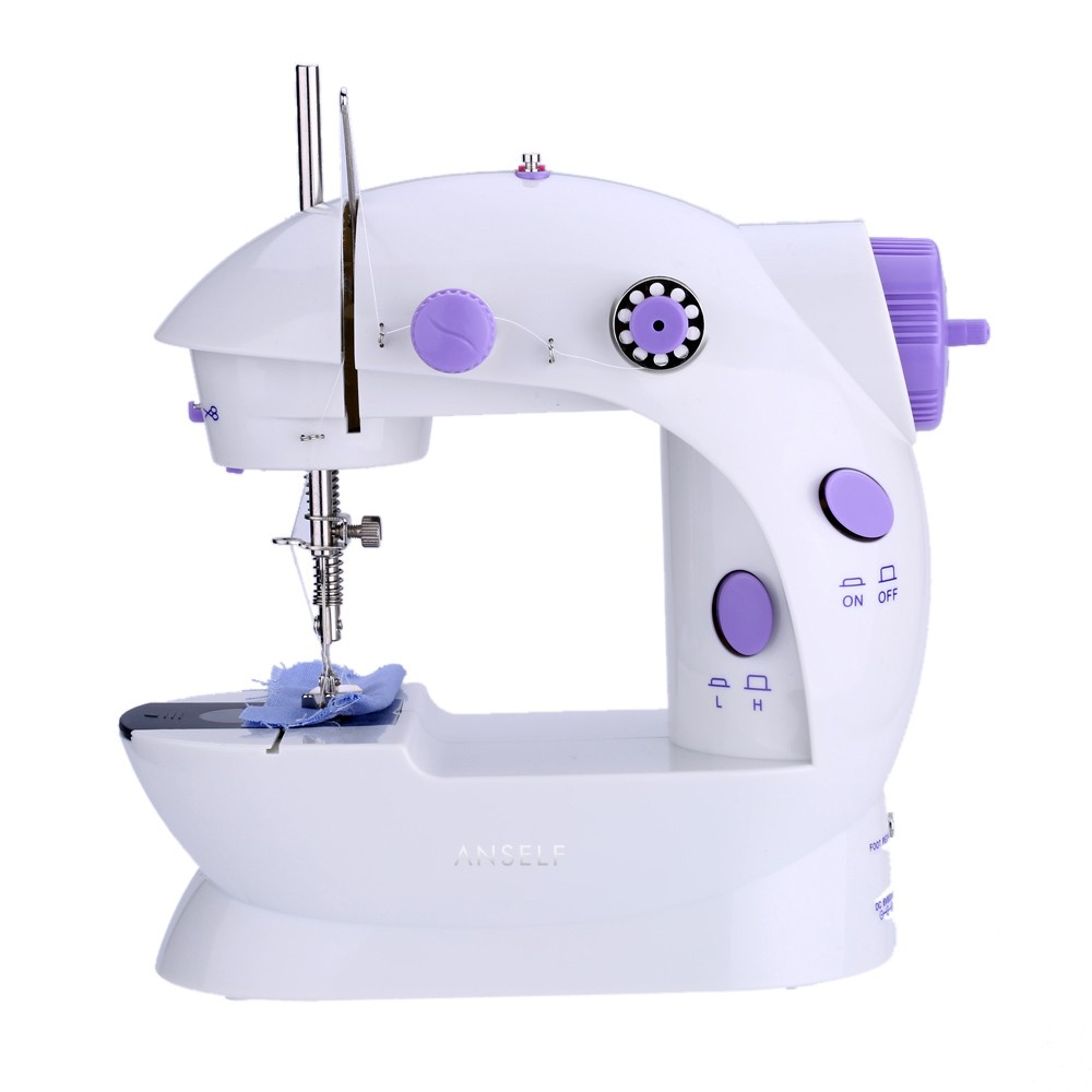 Anself Mini Household Purple Electric Sewing Machine Adjustment with Light Foot Pedal AC100-240V H17356EU