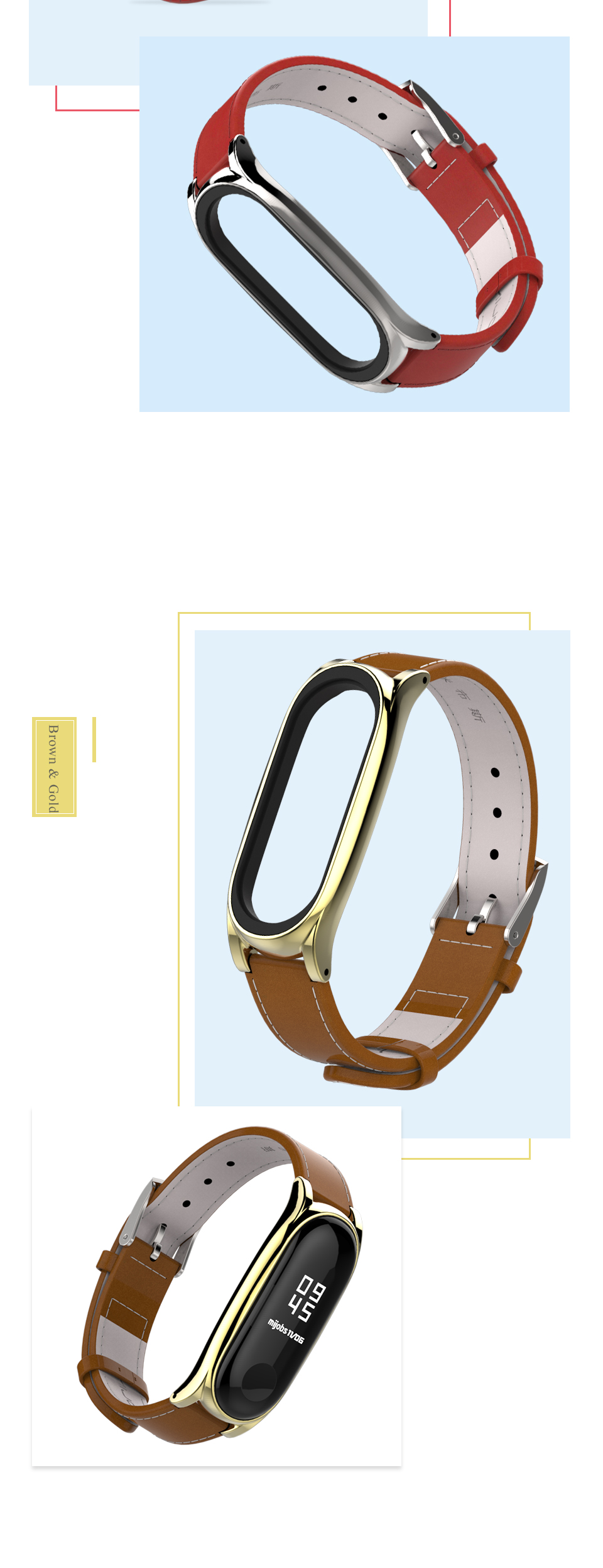 Mijobs New arrival genuine leather watch band for mi band 3 strap smart watch bands wholesale