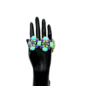 Hot Selling African Style Boho Enamel Turquoise Bracelet Flower Shaped Jewellery Gift Unique Handmade Ladies Bracelet Models