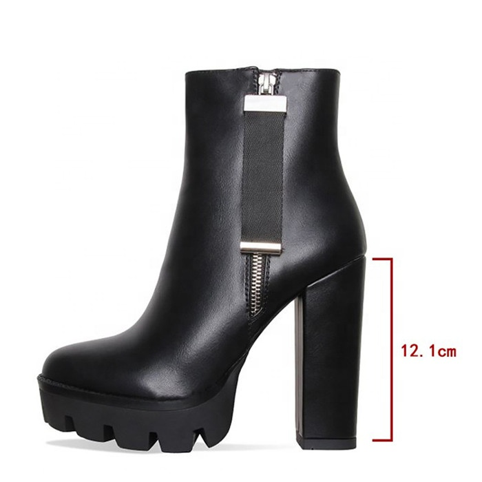 2019 China Wholesale Women  Ankle Boots Heels Winter Platform Heels Boots Fashion