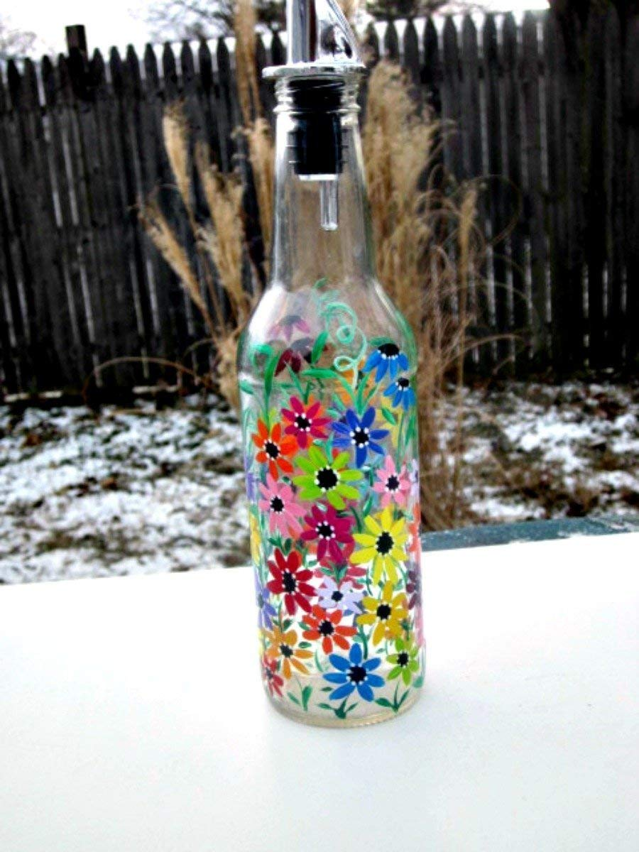 Dish Soap Dispenser Recycled Clear Beer Bottle Painted Gl Oil And Vinegar Colorful Flowers