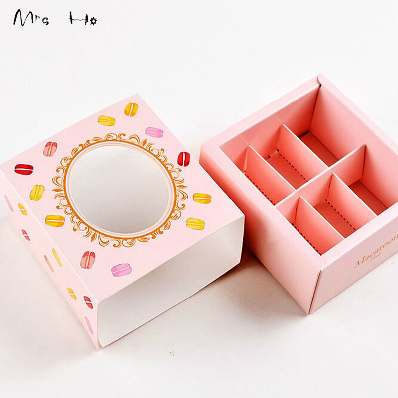 Wholesale 3 Colors Pink/Green/Yellow Macaron Packing Boxes Cupcake Gift Boxes Bakery Chocolate Pastry Packaging Paper Box PP560