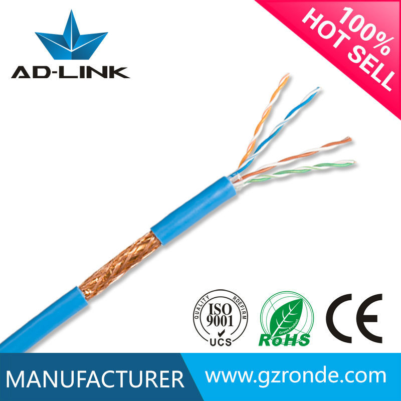 305M/roll solid bare copper conductor shielded cat5e SFTP cable lan cat 5