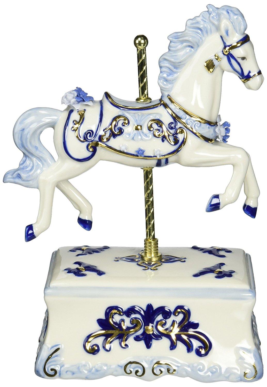 Cosmos 80111 Fine Porcelain Carousel Horse Musical Figurine, 8-1/2-Inch, Blue