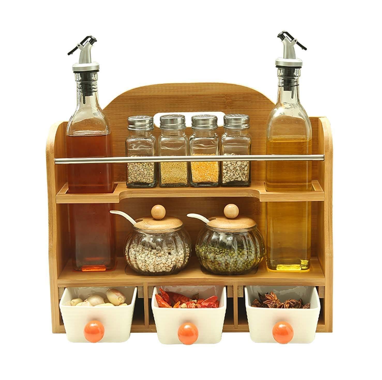 HLL Seasoning Bottle Kitchen Supplies, Glass Condiment Bottles, Stainless Steel European Anti-Leak Oil Pot, Oil Vinegar Pot Sets (12 Assembled)