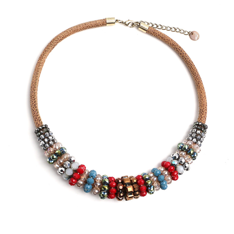 women wear jewelry seed beads leather necklace natural stone bead necklace
