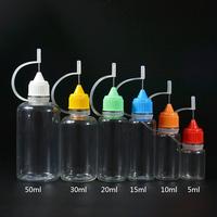 5ml 10ml 15ml 20ml 30ml 50ml e cig liquid pet needle tip dropper bottles with needle cap