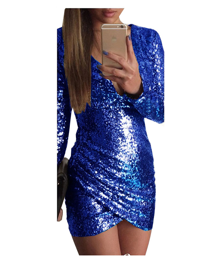 e06aa3c076e Get Quotations · Sexy Royal Blue Long Sleeve Women Summer Dress 2015 Deep V  Bodycon Bandage Party Dresses Sequined
