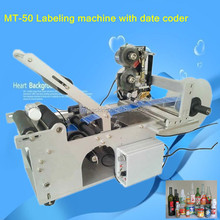 Semi-Automatic Adhesive Stickers Labeller,Round Bottle Labeling Machine With Date Coder MT-50