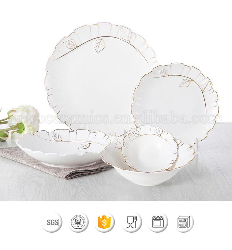China Factory Chic Leaf Decor Luxury Fine Bone China Porcelain Dinnerware 47PCS Dinner Set