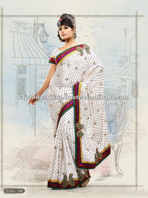 Indian Bandhani Silk simple look indian traditional wear Saree