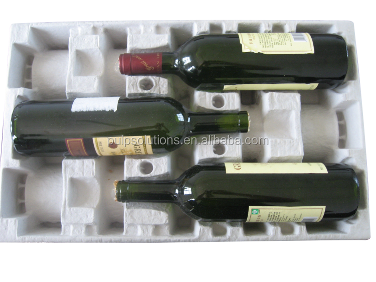 Recyclable Paper Pulp 1 Bottle Wine Shipper Tray