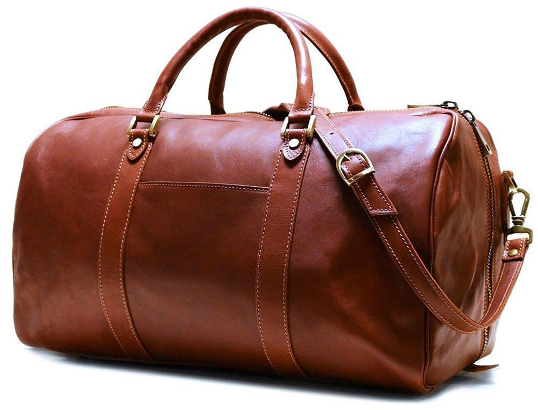 Floto Siena Leather Duffel Bag in Brown