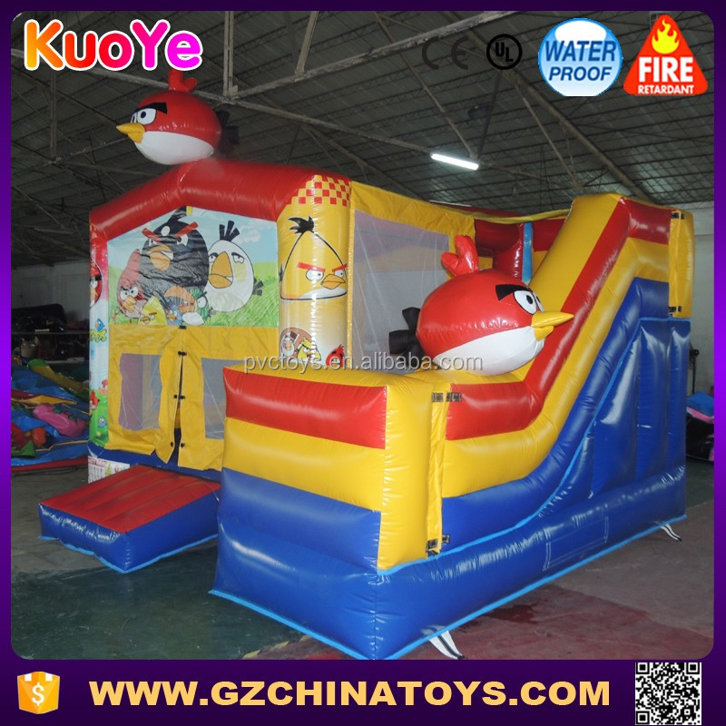 wholesale angry inflatable birds jumping bouncer combo slide