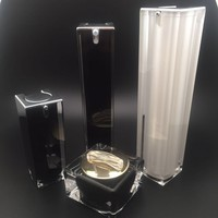 high end 15ml 30ml 50ml 100m white black square pump empty acrylic cosmetic packaging bottle for skin care
