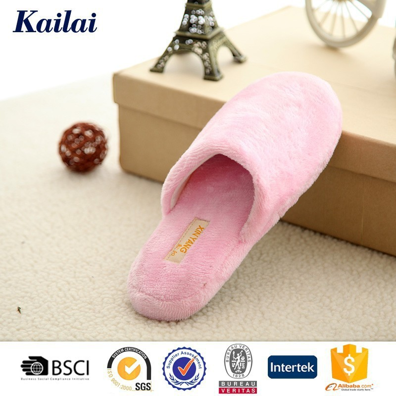 Indoor Pink Plush Non-smell Slippers Lady