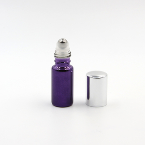 2018 alibaba manufacture 10ml purple glass tube bottle with stainless steel roll on ball for cosmetic deodorant packing