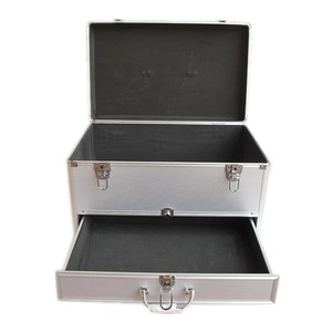 Heavy Duty Silver Large Aluminum Barber Tool Case With Drawer