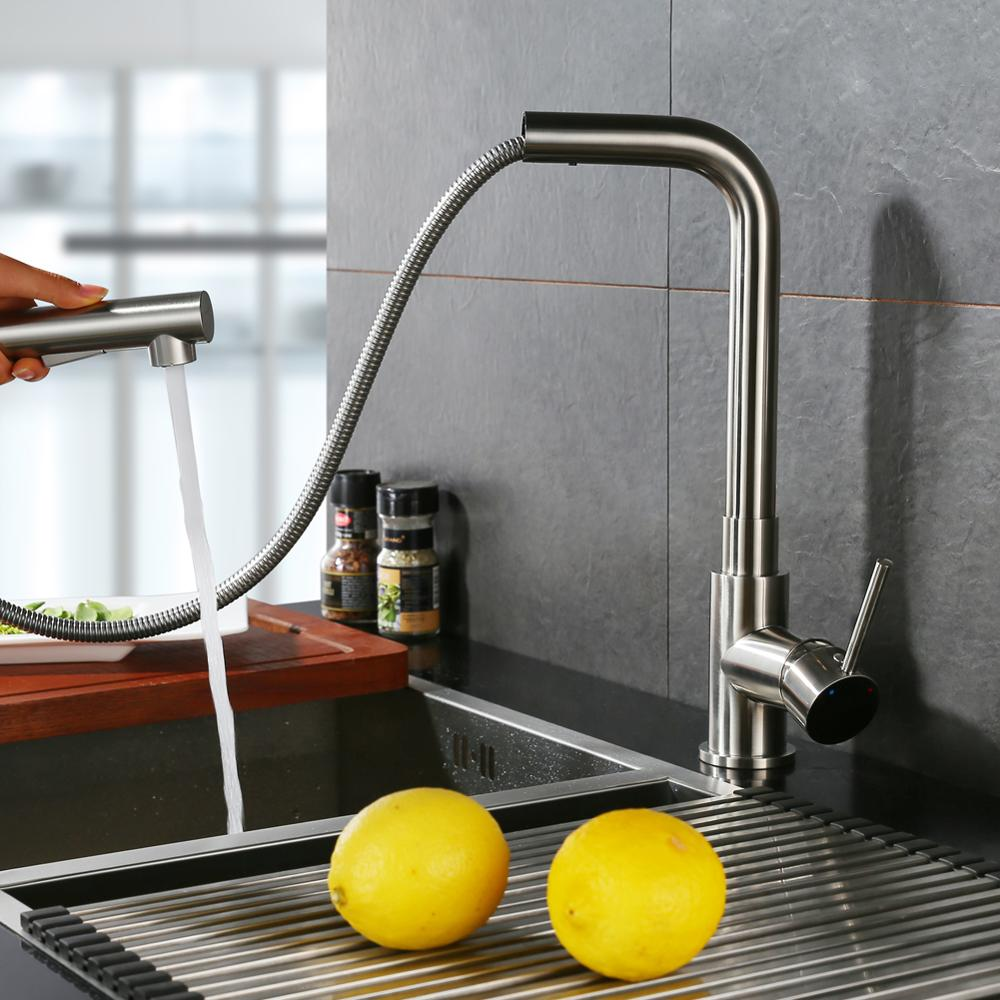 Single handle brass pull out faucet kitchen with 2 function sprayer