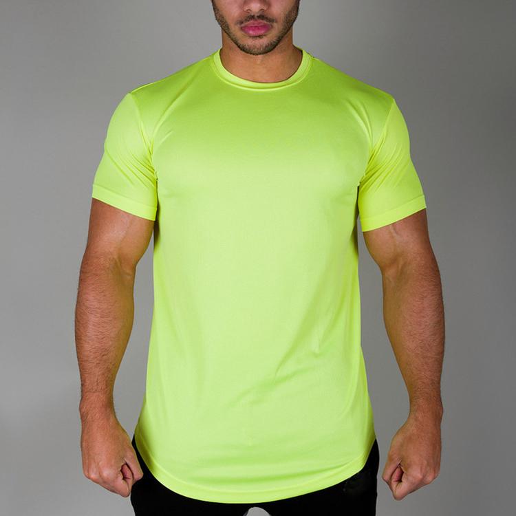 Bright Polyester Round Hem Sports Blank Dri Fit T Shirts
