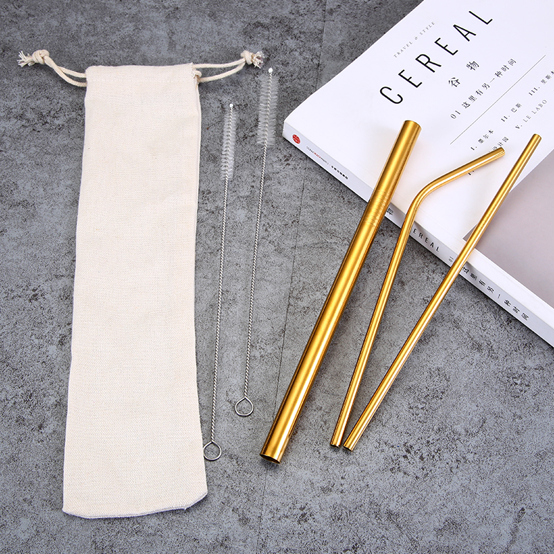 Reusable Steel Stainless Set Eco Friendly Drinking Custom Cleaning Brush with Case And Cleaner Color Travel Straws Metal Straw
