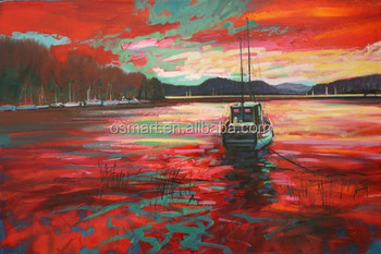 El Boyalı Monet Kırmızı Bulut Duvar Sanat Kırmızı Gökyüzü Resimleri Kırmızı Deniz Tuval Boyama Tekne Yağlıboya Tuval Duvar Boyama Buy El Boyalı Red
