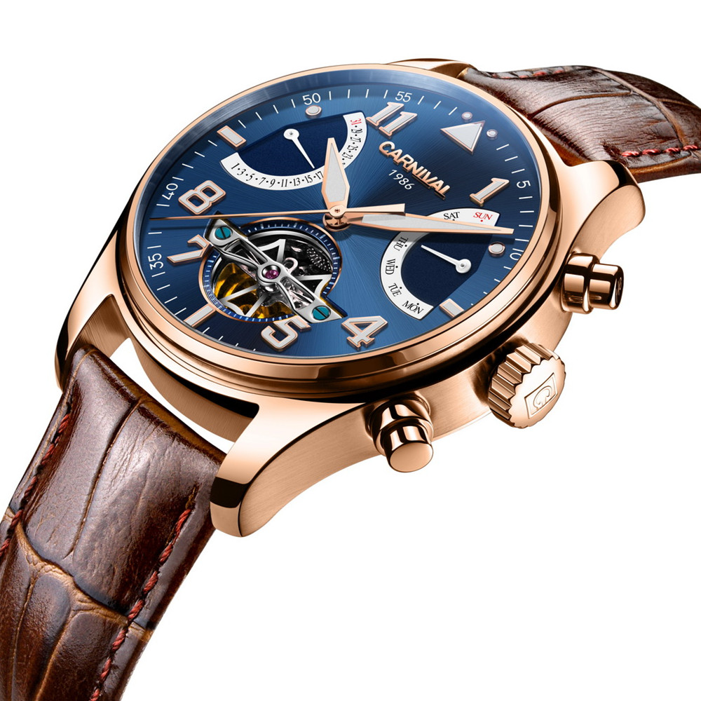2017 Top 10 Brand Carnival Automatical Mechanical Hand Wrist Watch for <strong>Men</strong> Genuine Leathe Sapphire Window Saat relogio masculino