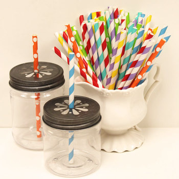 Disposable Assorted Rainbow Colors Stripe Short Paper Straws for Juices, Milk, Tea Drinking