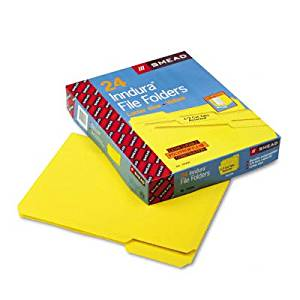 """Smead Manufacturing Company - Inn Dura File Folders, 9"""" High Front, Letter Size, Yellow"""