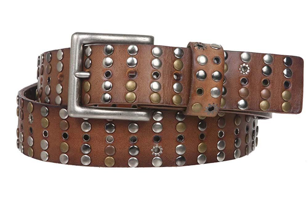 MONIQUE Women Western Studded Rhinestone Buckle Genuine Leather 1.5 Wide Belt