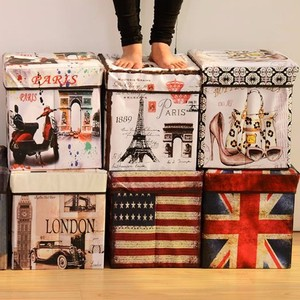 Wholesale creative printing retro storage sundries chair canvas fold storage box with lid