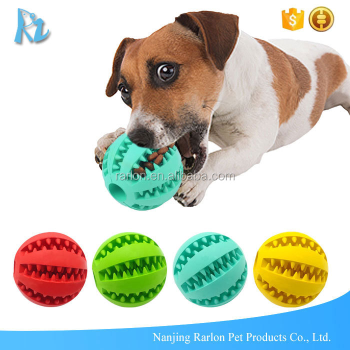 Dog Treat Dispenser >> Rubber Interactive Dog Chew Dispensing Ball Toy Dog Treat Dispenser