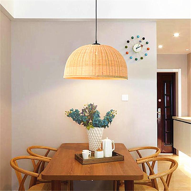 Rotan Bambu Kap Lampu Untuk Ruang Makan Liontin Di Meja Sahdes