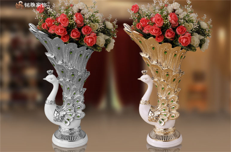 Household decorative goods resin tabletop craft resin peacock shape flower vase