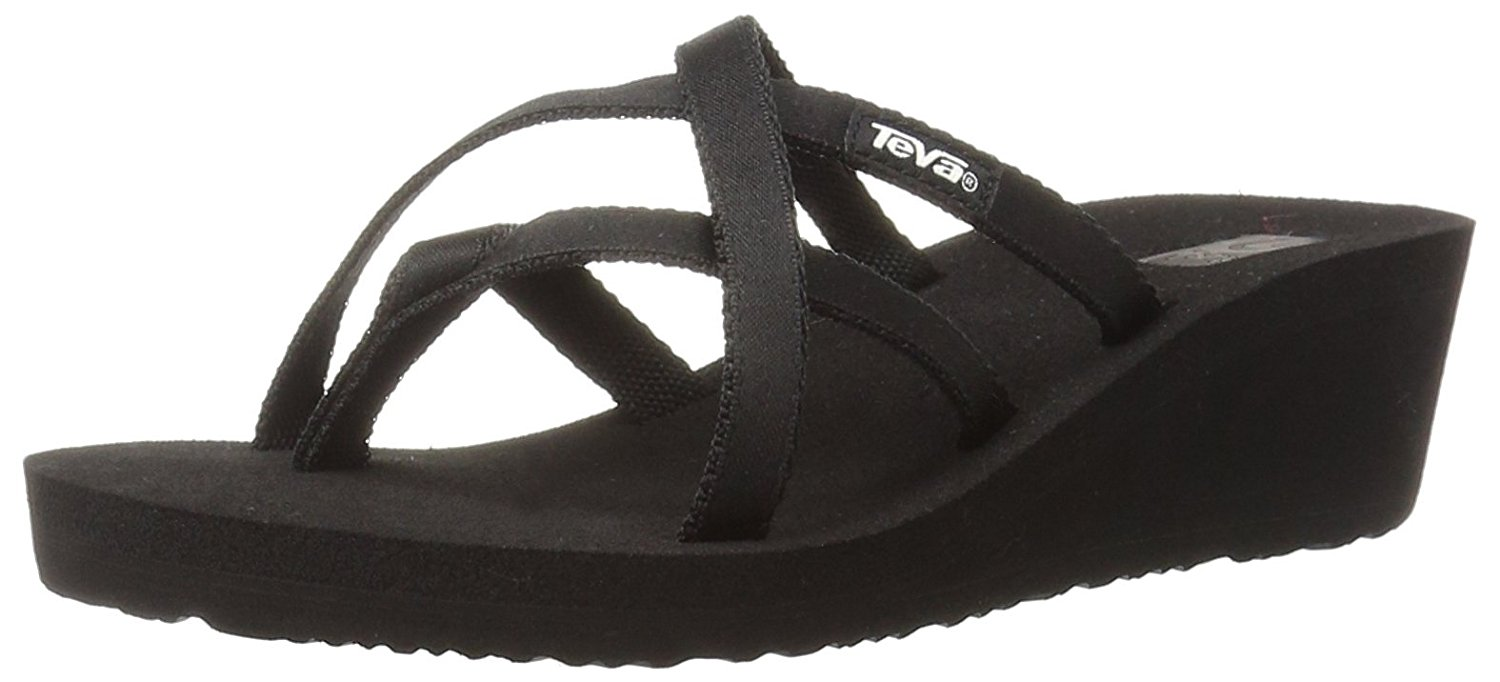 7afd1ac5eca6f5 Get Quotations · Teva Women s Mush Mandalyn Wedge Ola 2 Sandals (Black ...
