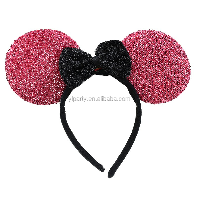 Mickey Minnie Mouse Ears Glitter Fabric Led Light Up Headband