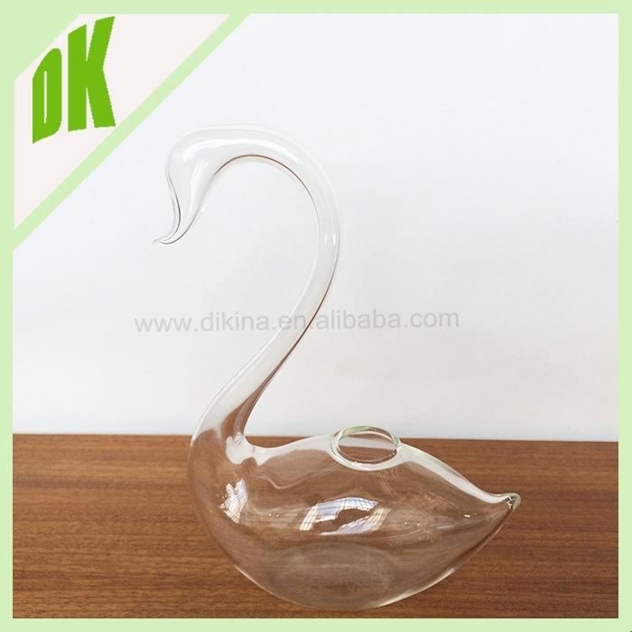 2 Sizes Vintage Blown Art Glass Swan Centerpiece Bowl Vase