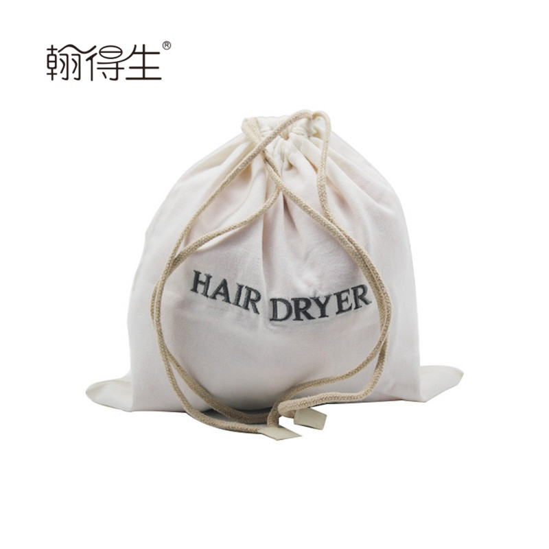 wholesale Recyclable cotton twill cheap drawstring hair dryer bag