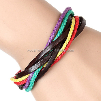 Custom Colorful Waxed Cotton Cord Mens Braided Leather Rope Bracelet