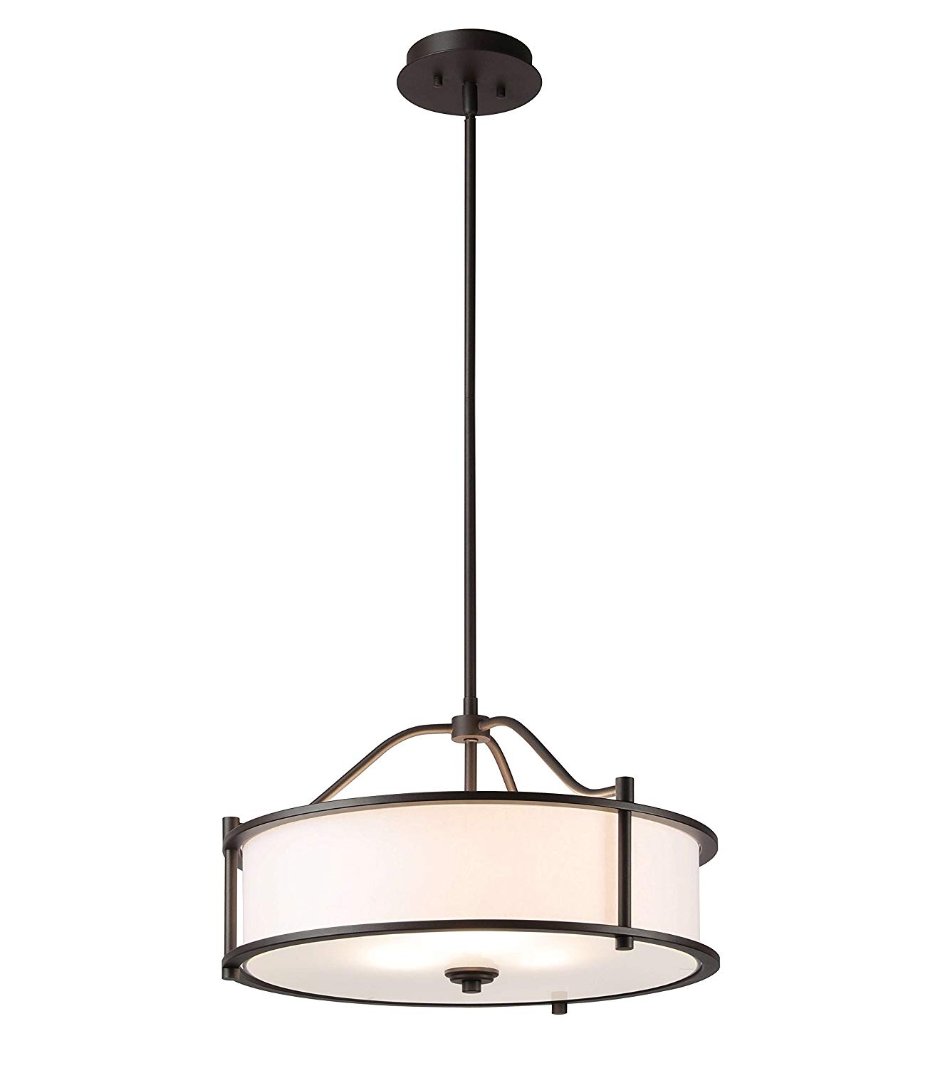 Get Quotations Pendant Lighting 18 Inch 3 Light Drum With Fabric Shade And Gl Diffuser In