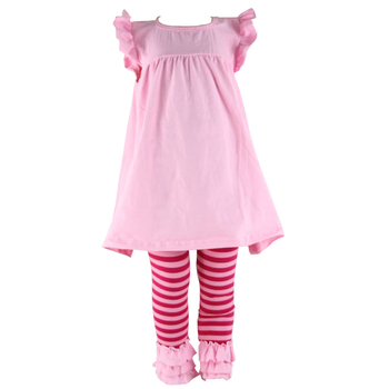 2017 Spring and summer hot sale kids clothes pink icing ruffle outfits solid dress sets baby wear children clothes